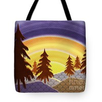 """Pine Forest Sunset Tote Bag for Sale by Shawna Rowe (18"""" x 18"""")"""