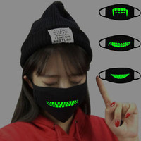 luminous Teeth Emoticon Mouth-muffle Anti-dust Cotton Face Mouth Masks Halloween