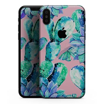 Watercolor Cactus Succulent Bloom V10 - iPhone XS MAX, XS/X, 8/8+, 7/7+, 5/5S/SE Skin-Kit (All iPhones Available)