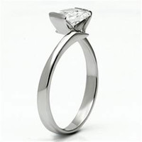 Cubist - Art Deco Style Square Cut White Cubic Zirconia Engagement Ring in Stainless Steel