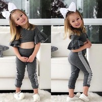 Toddler Kids Baby Girls Slim Fit Tops Pants Leggings Autumn Outfits Set Clothes