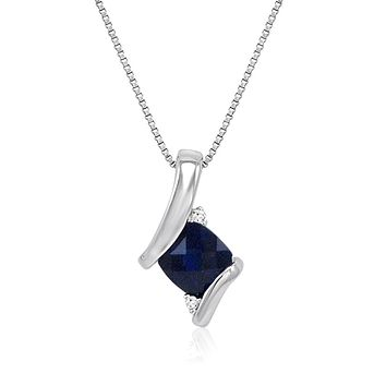 Sterling Silver Created Gemstone and Natural Diamond Pendant-Necklace on an 18 inch Sterling Silver Chain