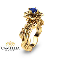 14KT Yellow Gold Engagement Ring, Blue Sapphire Engagement Ring, Unusual Engagement Rings