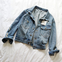 Denim Ripped And Frayed Button Jacket