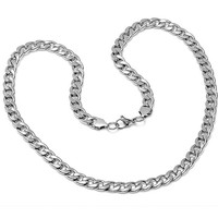 Oxford Ivy Mens Solid Stainless Steel Chain Link  Necklace 24 inches