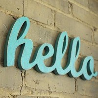 HELLO recycled wooden sign by WilliamDohman on Etsy