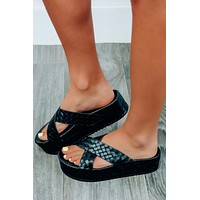 Look Down Here Platform Sandals: Black