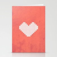 Heart X Red Stationery Cards by Fimbis