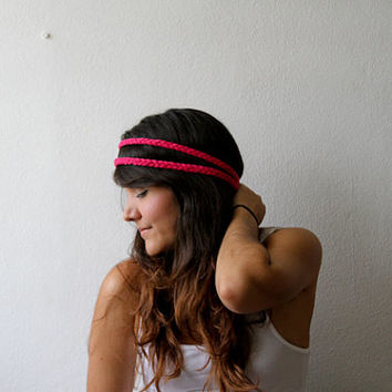 Pink Double Strand Braid Elastic Headband, Hippie, Boho