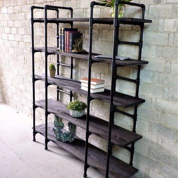 Manhattan Modern Industrial Etagere Bookcase In Black Steel Combo With Dark Brown Stained Wood