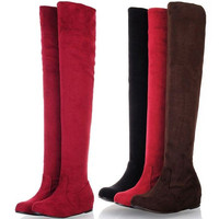 spring new women leopard grain over the knee boots cheap simple shoes = 1946829060