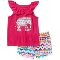 Faded Glory Girls' Ruffle Tank and Short Set - Walmart.com