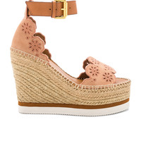 See By Chloe Glyn Wedge Sandal in Cipria & Natural Calf