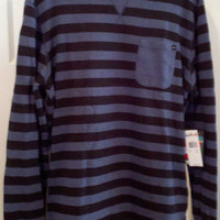 NWT Mens QUIKSILVER Blue Striped Long Sleeve Crew Neck Shirt $49.50 VALUE