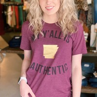 Arkansas: My Y'all is Authentic {Maroon} - Size XL