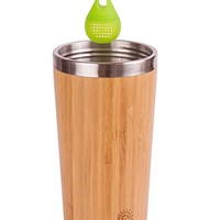 Elegant Reusable Bamboo Eco Travel Mug (Thermos) for Coffee or Tea | Splash-Proof, Easy to Clean Lid | Silicone Tea Infuser Included (15 Oz)