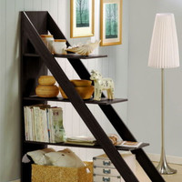 Diagonally Designed Display Shelf Modern Home Office Furniture Dark Brown Finish