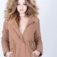 Furry Hooded Parka Jacket