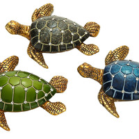 """Table Top Polystone Turtle 3 Assorted 5""""W, 1""""H Statue"""