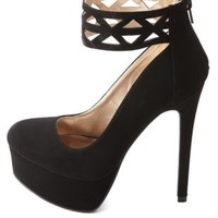 Laser Cut-Out Ankle Cuff Platform Pumps by Charlotte Russe