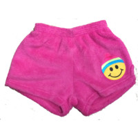 Made with Love and Kisses Girl's Fuzzy Boxer Shorts - Fuchsia Beanie Emoji