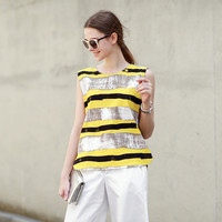 Yellow And Black Paint Stripe Muscle Shirt