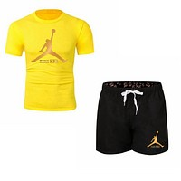 NIKE Jordan Summer New Fashion Letter People Print Women Men Sports Leisure Top And Shorts Two Piece Suit Yellow