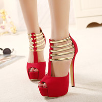Roman Style Decoration High Heel Hollow Out Metal Shoes = 4814687300