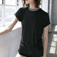 Nollie Rib Neck Shrunken Crew T-Shirt - Womens Tee - Black