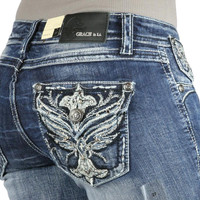Grace in L.A. Rhinestone Embroidered Wing Boot Cut Jeans