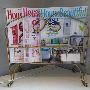 Vintage, Magazine Rack, Standing, Metal, Footed, Mid Century Modern, Brass Color, Living Room Decor,   RhymeswithDaughter