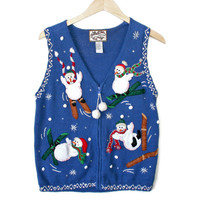 Clumsy Skiing Snowmen Ugly Christmas Sweater Vest