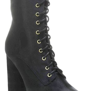 Black Lace Up Pointy Toe Satin Vegan Women's Boots Midcalf