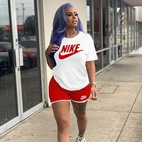 NIKE Women's Casual Letter Print T-shirt Shorts Two-piece Set