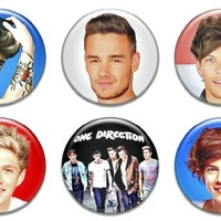 """6 New One Direction 1.25"""" Pinback Button Badge Pin Set Two"""