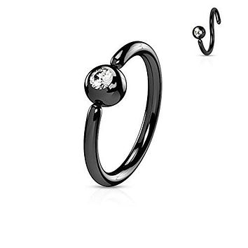 Front Facing Press Fit Gem Ball Fixed IP Over 316L Surgical Steel WildKlass Hoop Rings for Ear, Nose, Eyebrow and More