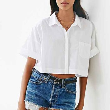 Lucca Couture Square Cropped Button-Down Shirt- White