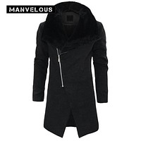 Manvelous Hooded Wool Coat Men Fashion Casual Slim Plain Thick Black Color Patchwork Mid-Length Mens Wool Blends Jackets Coats