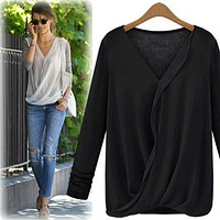 Chiffon Patchwork Ruches V-neck Long Sleeves Fashion Blouse
