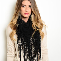 Black Ultra Fringe Open Knit Infinity Scarf