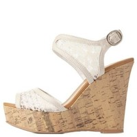 Lace Platform Wedge Sandals by Charlotte Russe
