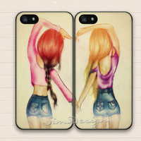 Best Friends iPhone 5 Case,iPhone 5s Case,iPhone 4 4s Case,Samsung Galaxy S3 S4 Case,BFF friend girls heart love Hard Rubber Double Cases