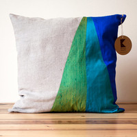 Cool Blue and Green Triangles Geometric Silk and Linen Pillow - 18 Inches