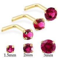 14K Real Gold (Nickel free) L-shaped Nose Pin with Round Ruby