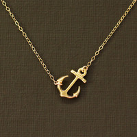 Sideways Gold Anchor Necklace  14K Gold Filled Chain by NinaKuna