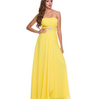 Yellow Chiffon & Sequin Keyhole Gown