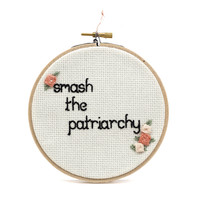 Smash the Patriarchy Floral Cross Stitch