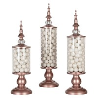 3-Piece Metal Candy Jar Set (Rose Gold)