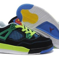 Kids Air Jordan 4 Black/Green/Blue Sneaker Shoe Size US 11C-3Y