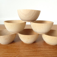 Six small unfinished turned wood bowls, craft bowls, ring bowls